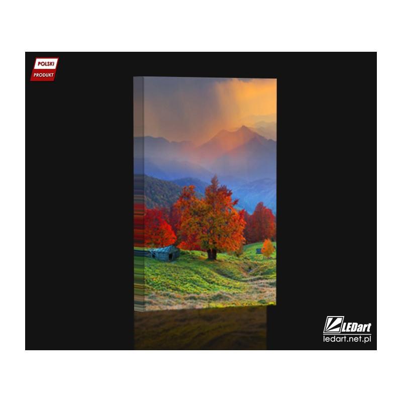 904c5431 Polska jesień - Nowoczesny obraz podświetlany LED - Kinkiet na ścianę