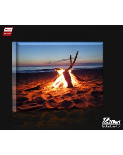 Ognisko na plaży DESIGN Obraz z oświetleniem LED prostokątny