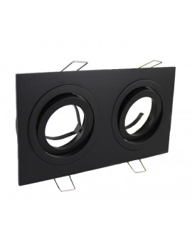 Ceiling downlight aluminium double black mat