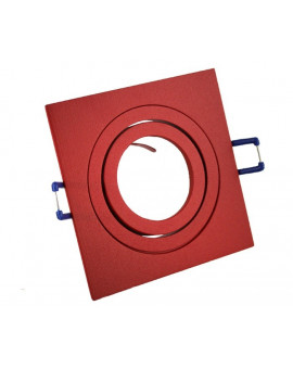 Ceiling downlight aluminium square red
