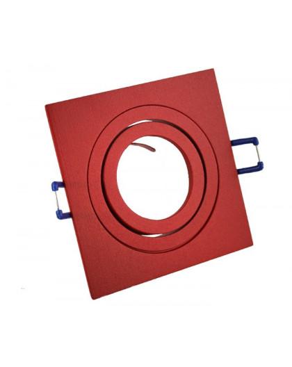 Ceiling downlight aluminium square red