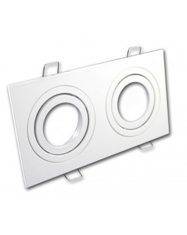 Ceiling downlight aluminium double white mat