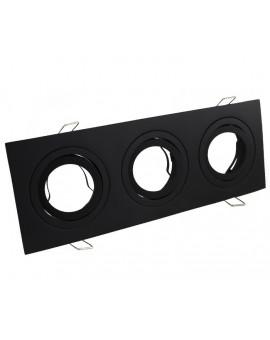 Oprawa halogenowa aluminium potrójna LED czarny mat