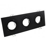 Triple Ceiling downlight aluminium LED black matt