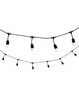 Garden garland with white Warm 10 LED bulbs E27 6W 36V