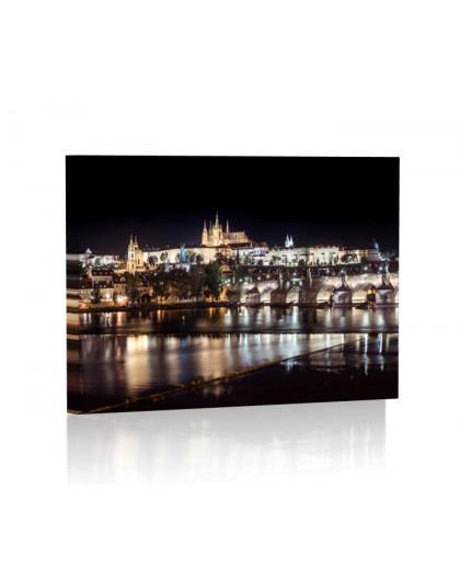 Praga nocą Obraz podświetlany LED