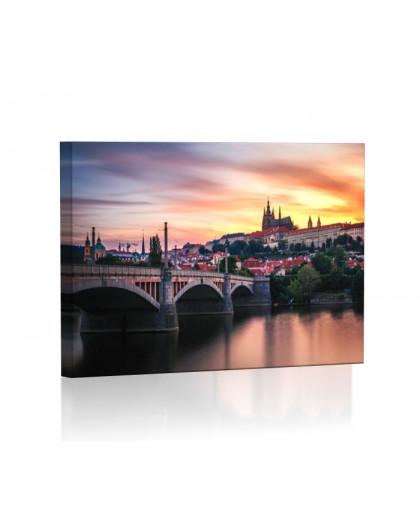 Wschód słońca w Pradze Obraz podświetlany LED