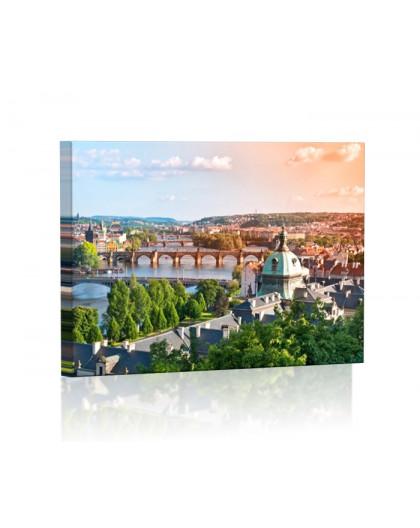 Mosty w Pradze latem Obraz podświetlany LED