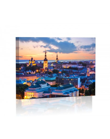 Wieczór w Tallinie DESIGN Obraz z oświetleniem LED prostokątny