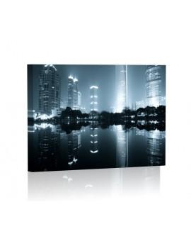 Szanghaj nocą Obraz z oświetleniem LED prostokąt