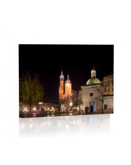 Kościół Mariacki nocą DESIGN Obraz z oświetleniem LED kwadratowy