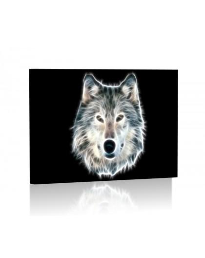 Fractal wolf DESIGN Obraz z oświetleniem LED prostokątny