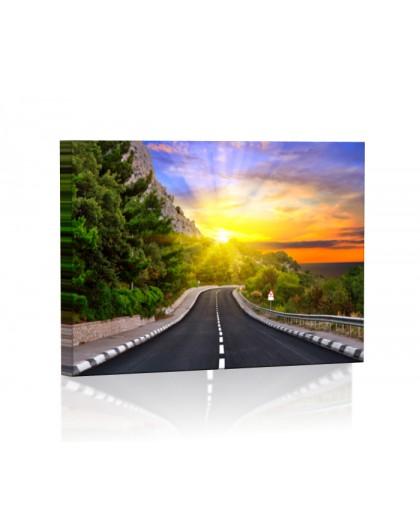 Autostrada w górach DESIGN Obraz z oświetleniem LED prostokąt