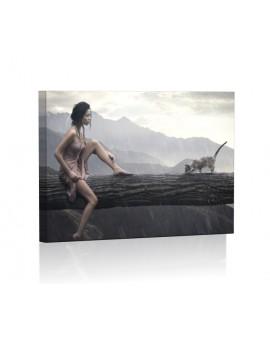 Kobieta w deszczu Obraz podświetlany LED