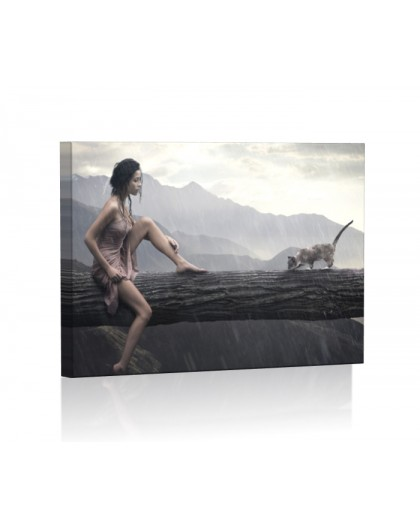 Kobieta w deszczu DESIGN Obraz z oświetleniem LED prostokątny