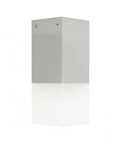Nowoczesna lampa ogrodowa Cube 44 cm srebrna