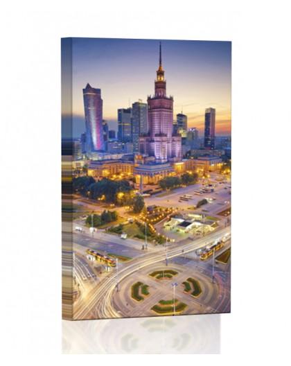Pałac Kultury w Warszawie DESIGN Obraz z oświetleniem LED kwadratowy