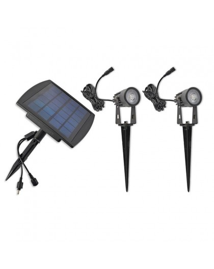 Solarne Lampy ogrodowe – komplet – 2x Reflektor solarny LED Spike