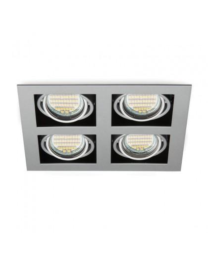 Poczwórna Oprawa halogenowa Szara Lampa Kwadrat 4x GU10