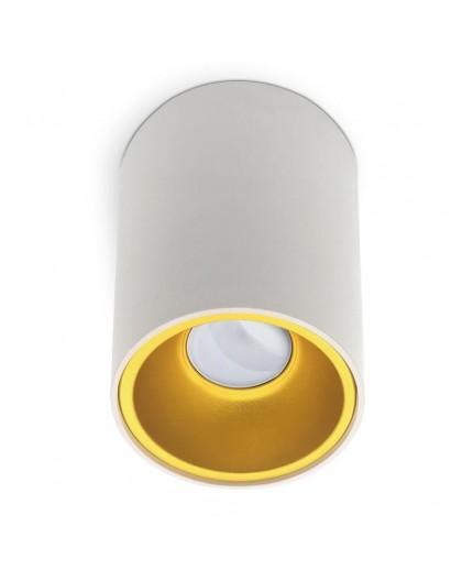 Lampa sufitowa natynkowa Spot Biały Złoty środek 1x GU10 Kivi 140 mm