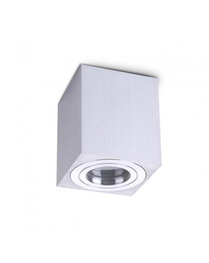 Zewnętrzna Lampa sufitowa Spot Oprawa natynkowa Kwadrat Srebrna Chrom IP44