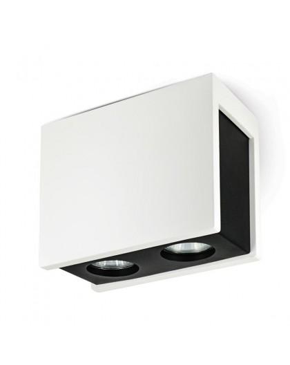 Gipsowa Oprawa natynkowa podwójna Spot Lampa sufitowa Biała Czarna Lindo 2x GU10