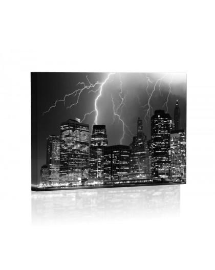 Manhattan burza Obraz z oświetleniem LED prostokąt