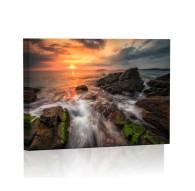 Skaliste wybrzeże zachód słońca Obraz podświetlany LED