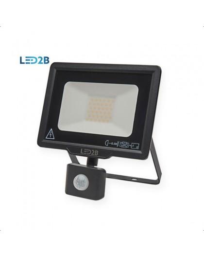 Naświetlacz LED MHC z czujnikiem ruchu 30W Czarny Biała ciepła 3000K