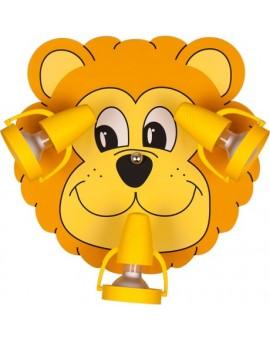 Żółty plafon dziecięcy lampa sufitowa Lew 3xE14