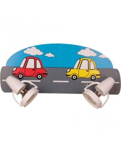 Podwójny kinkiet dla dzieci lampa Samochody 2xE14