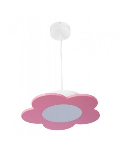 Różowa lampa wisząca LED Kwiatek dla dzieci