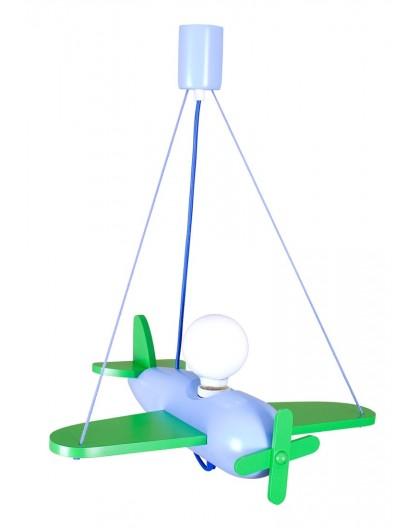 Zielona lampa wisząca Samolot Clipper dla dzieci