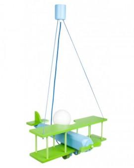 Zielono-niebieska lampa wisząca Samolot dla dzieci