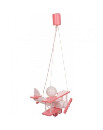 Różowo-Biała lampa wisząca dziecięca Samolot