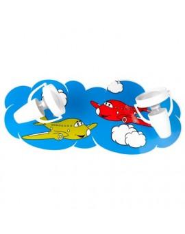 Kolorowy kinkiet dziecięcy Samolociki podwójna lampa