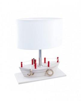Biała drewniana lampa stojąca Statek na stolik