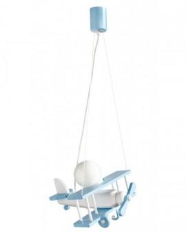 Biało-niebieska drewniana lampa wisząca Samolot