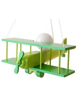 Zielona drewniana lampa wisząca dziecięca Samolot