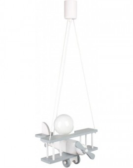 Szaro-biała drewniana lampa wisząca Samolot 1xE27