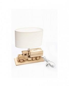 Drewniana stojąca lampa biurkowa Ciężarówka Skarbonka