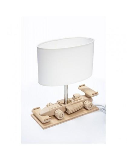 Drewniana lampa biurkowa dziecięca Auto Wyścigówka