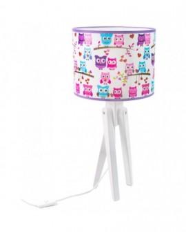 Kolorowa stojąca lampa biurkowa Sowy trójnóg