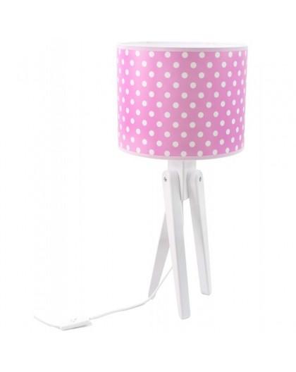 Różowa lampa stojąca trójnóg białe grochy na stolik
