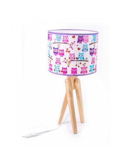 Kolorowa stojąca lampa na stolik Sowy Trójnóg