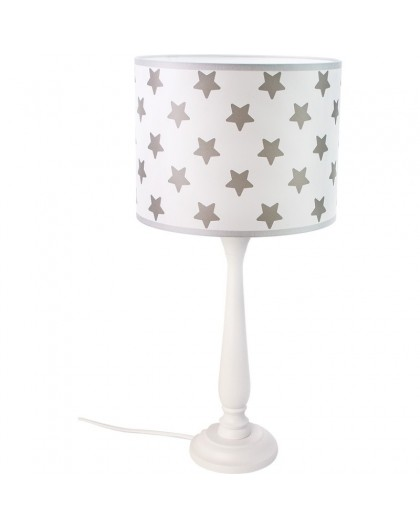 Biała stojąca lampa stołowa Gwiazki abażur