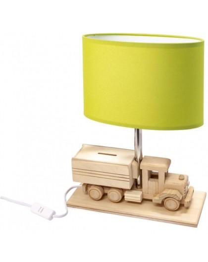 Zielona drewniana lampa biurkowa Ciężarówka Skarbonka