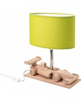 Zielona drewniana lampa na biurko Auto Wyścigówka
