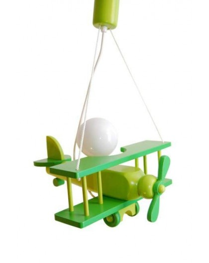Zielona dziecięca drewniana lampa wisząca Samolot
