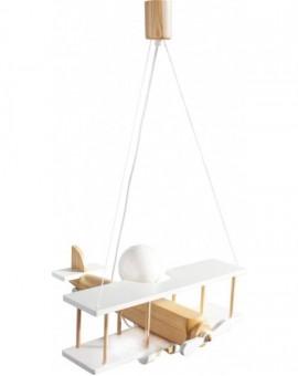 Drewniania biała lampa wisząca dla dziecka Samolot